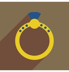 Flat icon with long shadow diamond ring vector