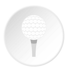 Golf ball with tee icon circle vector