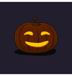Halloween smiling pumpkin on dark background vector