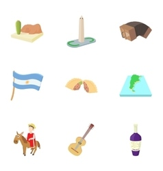 Holiday in argentina icons set cartoon style vector