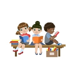 Kids sitting on the desk reading vector