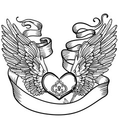 line art of angel wings and heart vector image