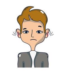 man with otitis earache illness infection vector image