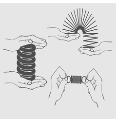 monochrome icon set with shock and hands vector image vector image