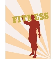 Muscular man holding fitness word vector image
