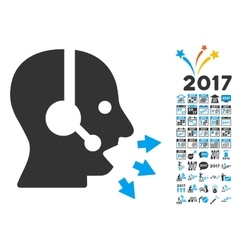 Operator speak icon with 2017 year bonus symbols vector