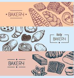 Organic bakery food vintage flyers vector