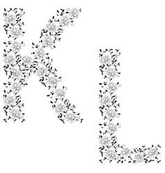 Ornamental letter kl vector