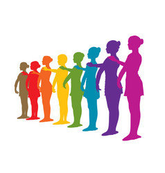 Rainbow row of ballet dancers vector