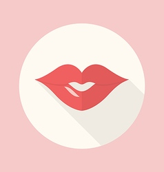 Red Lips Kiss Flat Icon vector image