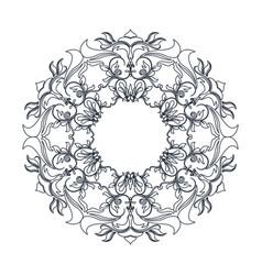 round decorative frame flourish calligraphy vector image