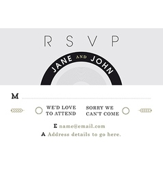 Rsvp wedding card black and grey theme vector