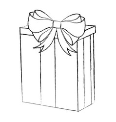 Sketch draw christmas gift cartoon vector