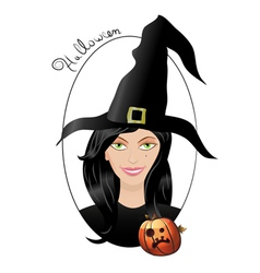 smiling halloween witch vector image vector image