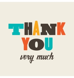 thank you card letterpress vector image