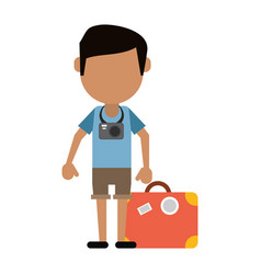 Traveler man camera suitcase vector