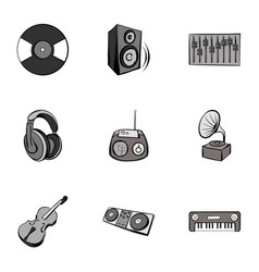 Tune icons set gray monochrome style vector