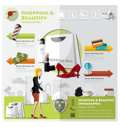 Woman shopping beautify and lifestyle infographic vector