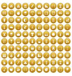 100 drawing icons set gold vector