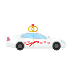 white wedding car with rings auto for the bride vector image