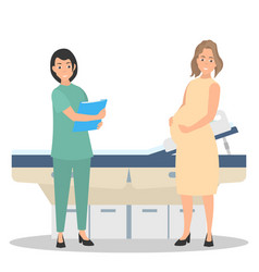 Pregnant woman on reception at the doctor vector