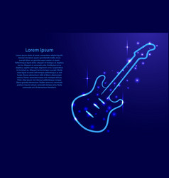 Blue guitar outline with luminous cosmic stars vector