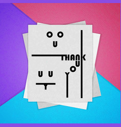 Colorful poster the material design thank you vector