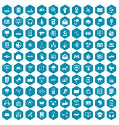 100 communication icons sapphirine violet vector image