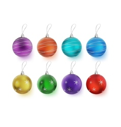 Christmas multicolor balls with bows isolated on vector