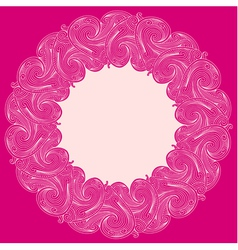 Pink engraving round frame vector
