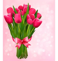 Valentines holiday background with bouquet of pink vector image