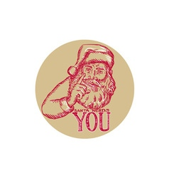 Santa Claus Needs You Pointing Etching vector image