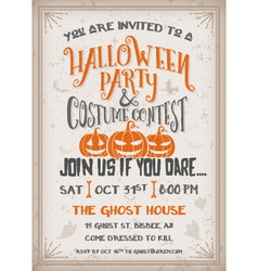 Halloween party and costume contest invitation vector