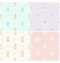 Set of 4 christmas seamless patterns vector
