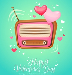 Romantic retro love radio with antenna vector