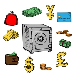 Finance business and banking sketched icons vector
