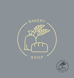 Bakery shop logo Sack of flour and bread Spikelets vector image