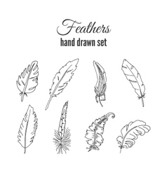 Feathers set hand drawn ethnic elements vector