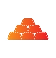 Gold simple sign orange applique isolated vector