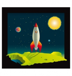 Space rocket in deep space vector