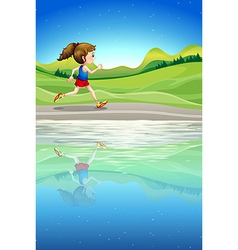A girl running along the river vector image vector image