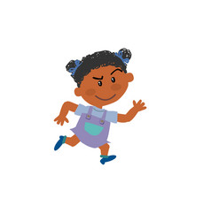 Cartoon character black girl running vector