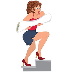 Cartoon woman in red top running with rolled paper vector image vector image