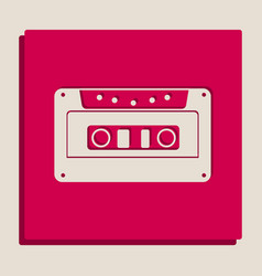 Cassette icon audio tape sign grayscale vector