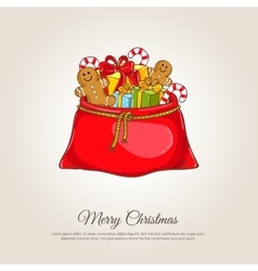 Christmas Banner with Santa Sack of Gifts vector image