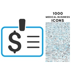 Dollar badge icon with 1000 medical business icons vector