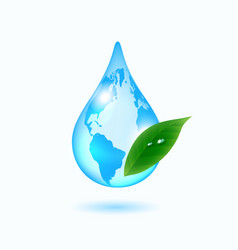 earth drop with green leaf vector image vector image