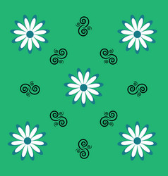 Flower white daisy and pattern elements on a vector