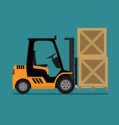 Forklift truck in flat style vector