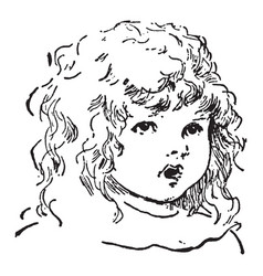 Girl of a innocent young girl face vintage vector